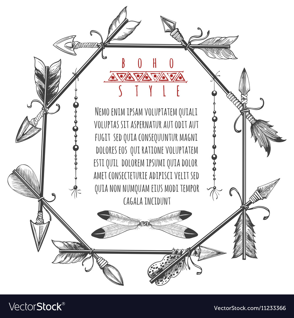 vintage arrows and feathers frame royalty free vector image