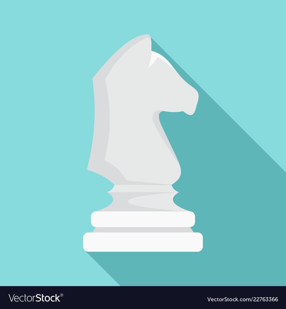 White chess horse icon flat style
