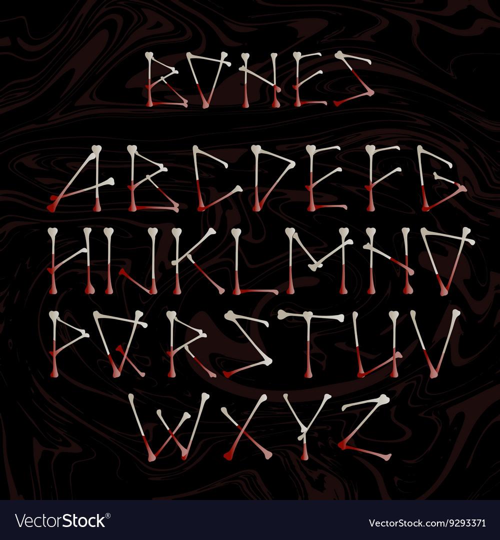 Alphabet made of crossed white bones