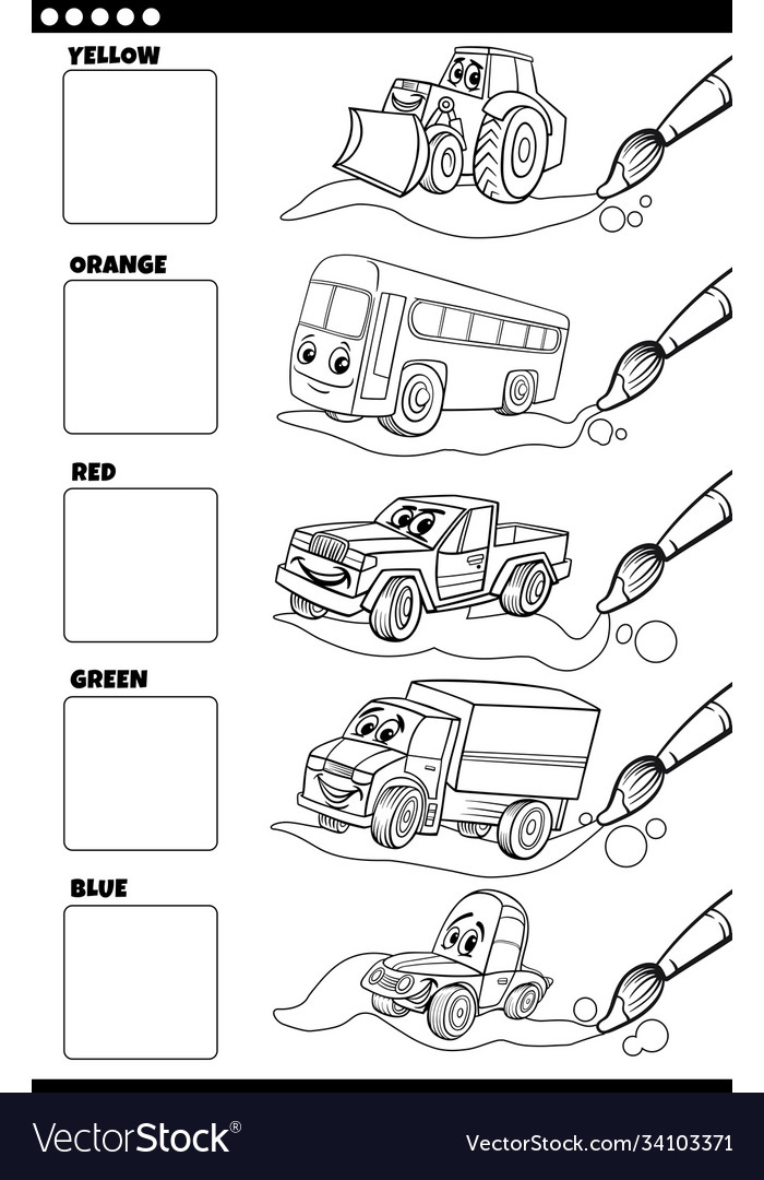 Basic colors with cartoon vehicles coloring book