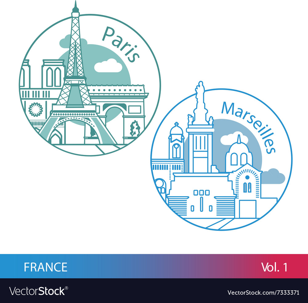Biggest cities of France Paris and Marseille One