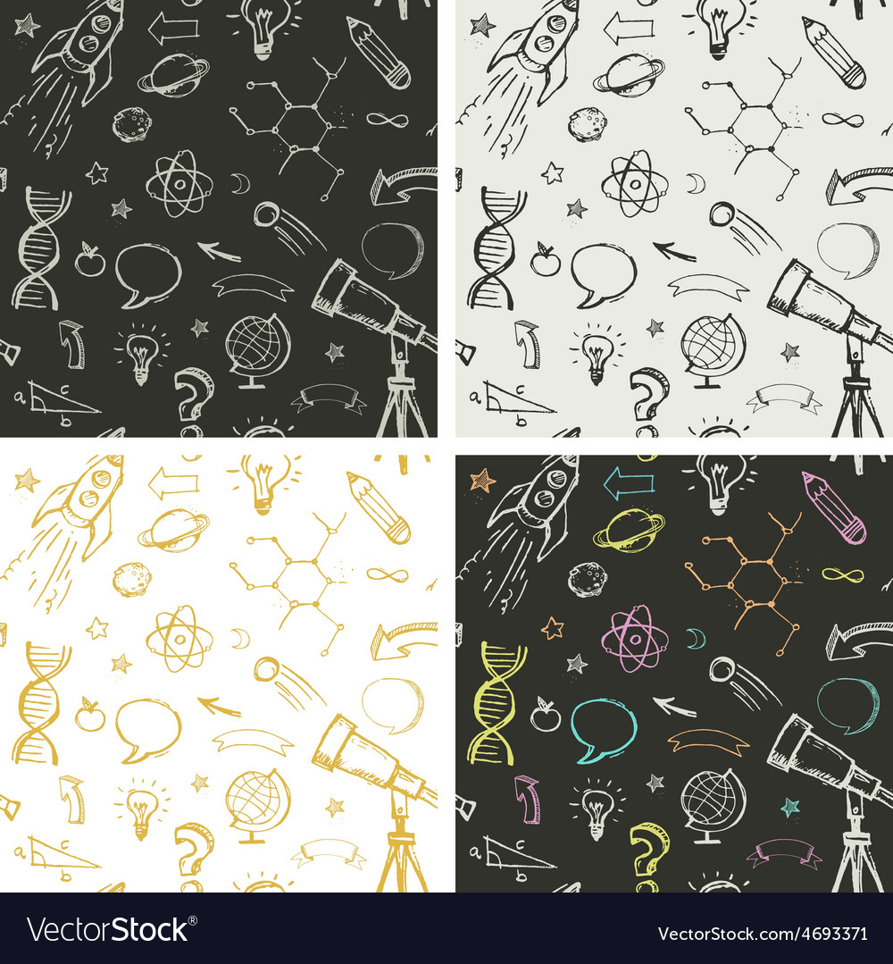 Education science doodles - seamless patterns
