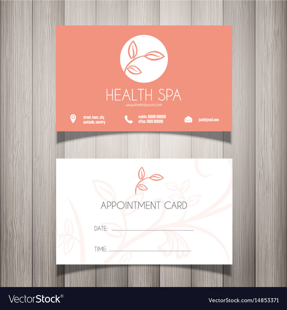 Health spa or beautician business card royalty free vector health spa or beautician business card vector image colourmoves