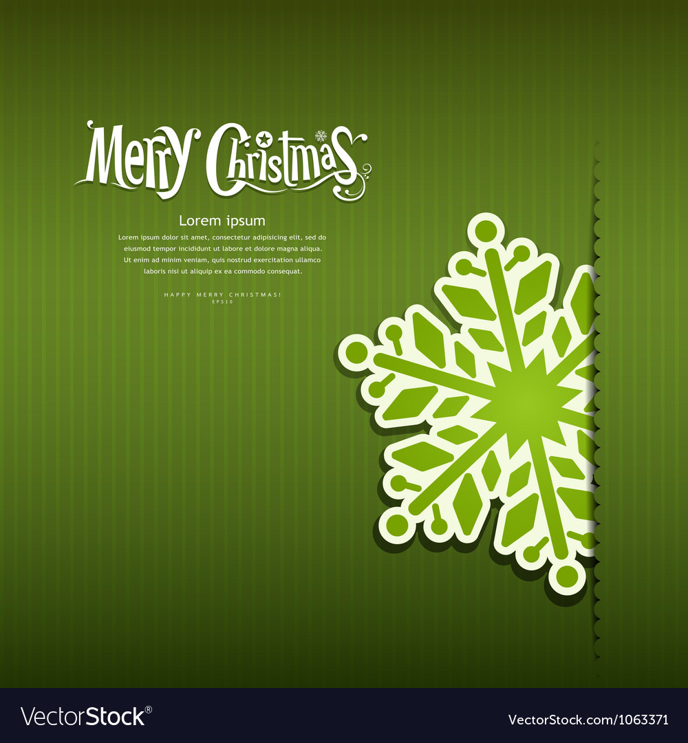 Merry Christmas Snowflakes paper green background vector image