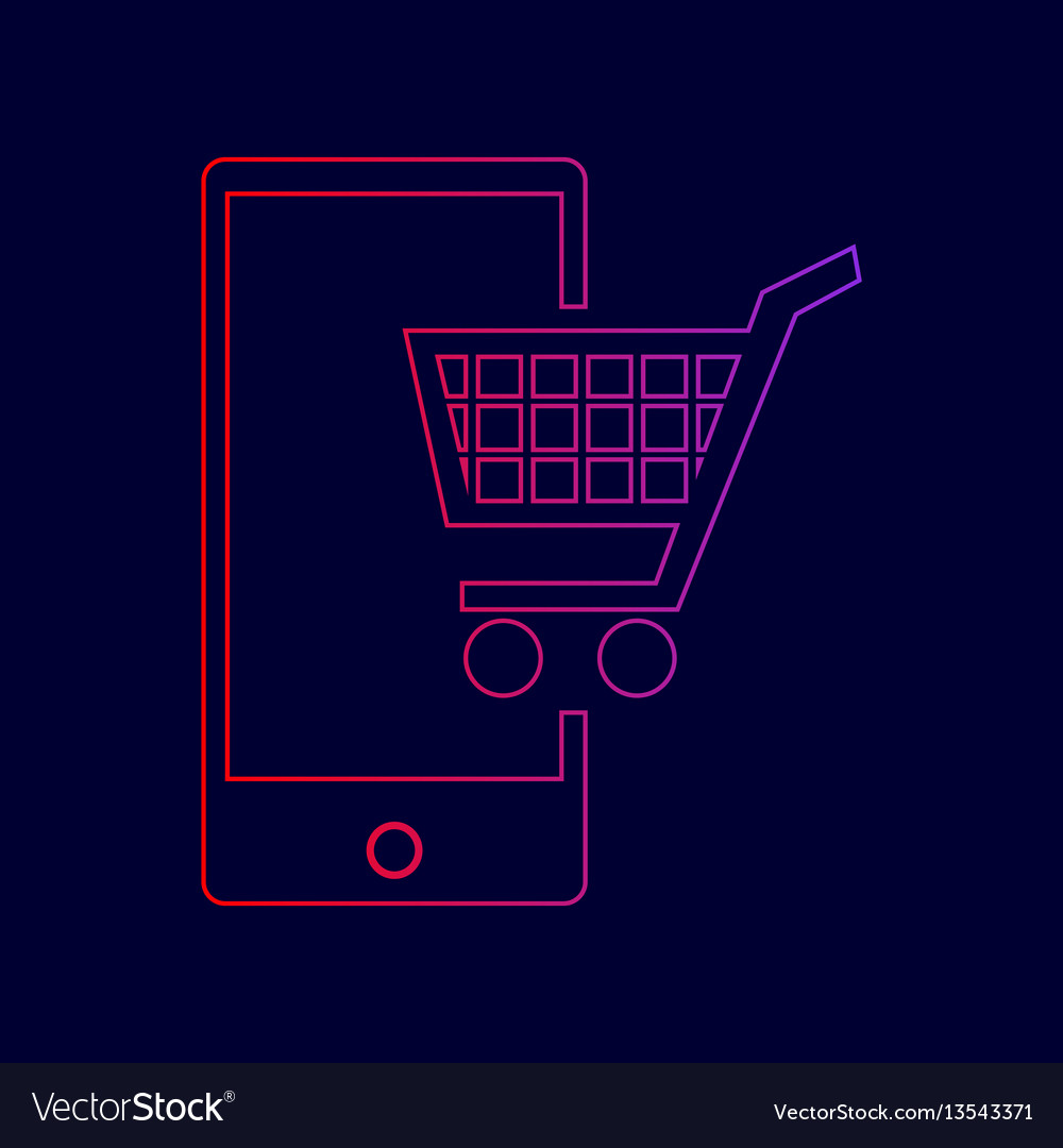 Shopping on smart phone sign line icon