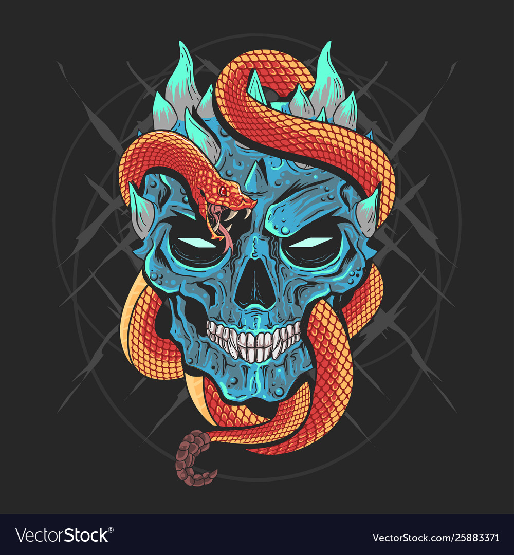 Skull head punk and snake artwork detail wi