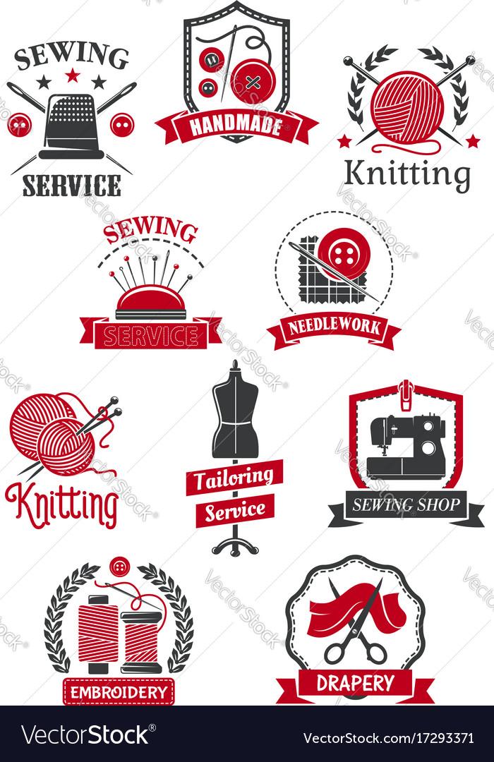 Tailor Sewing Shop Symbols For Handmade Design Vector Image