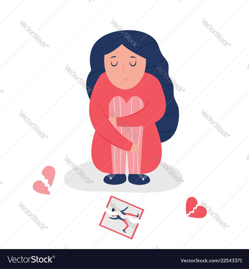 Unhappy Depressed Girl With Broken Heart Vector Image