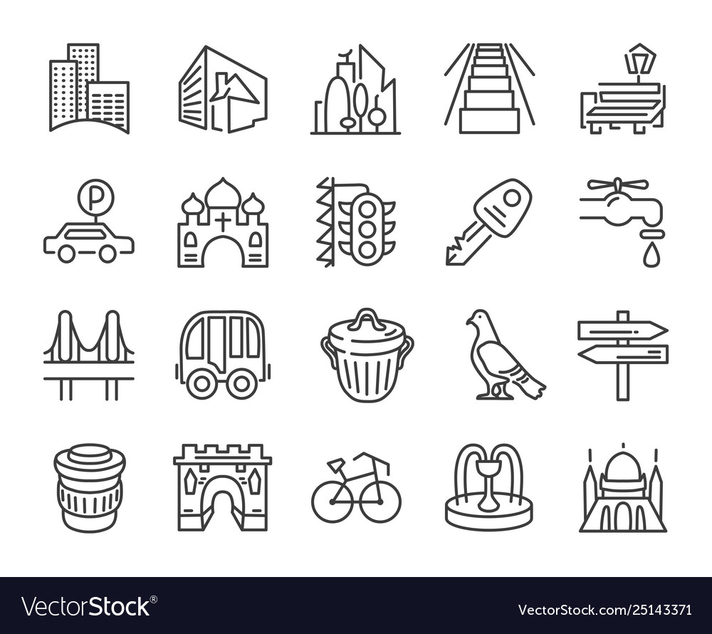 Urban and city element icon set in trendy simple