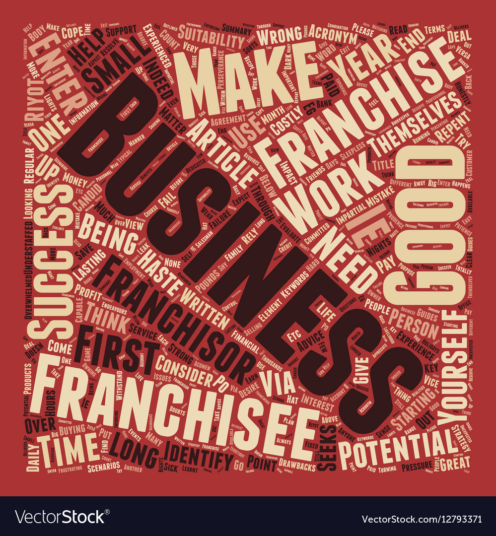 Would You Make A Good Franchisee text background vector image
