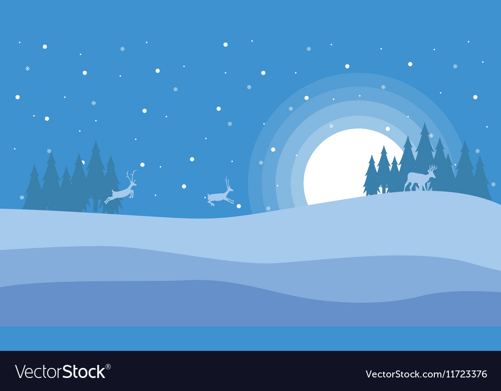 At night deer in hill scenery Christmas