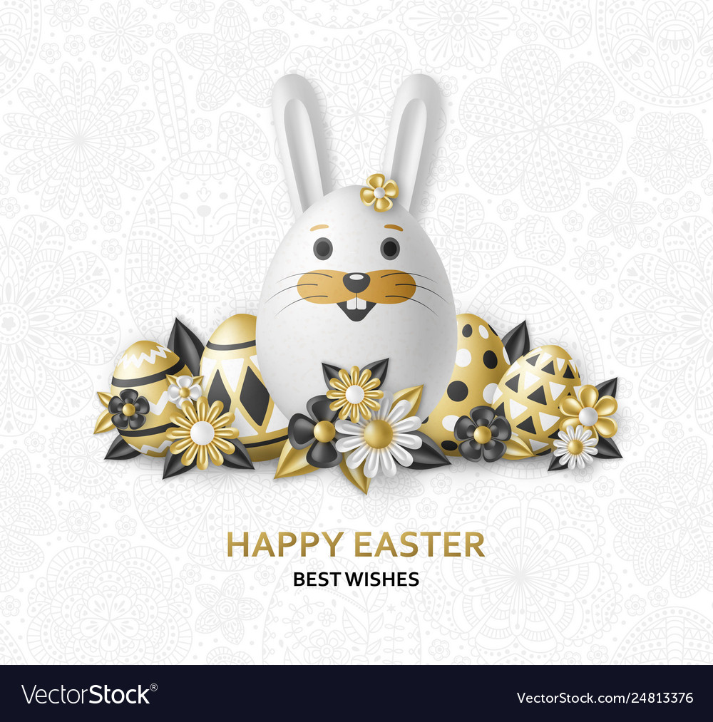 Cute easter background with white bunny chicken