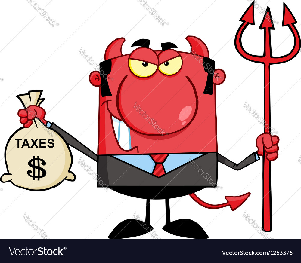 Devil With A Trident And Holding Taxes Bag