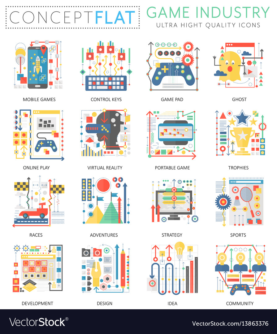 Infographics mini concept game industry icons for