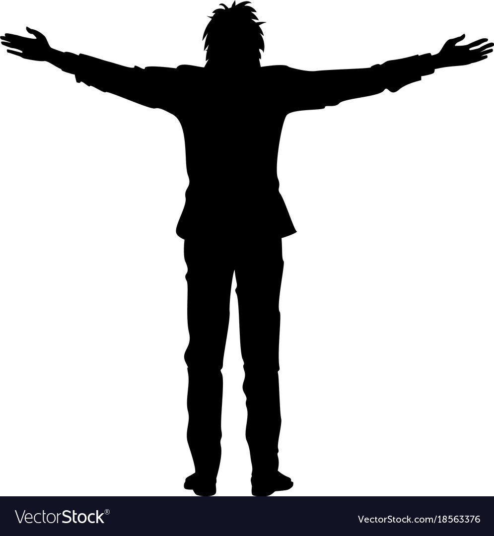 Isolated silhouette of man with outstretched arms vector image