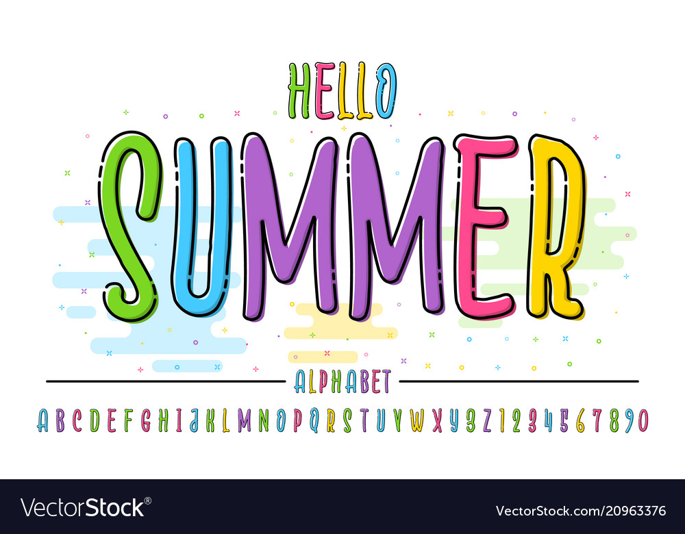 Latin color alphabet hello summer font in cute