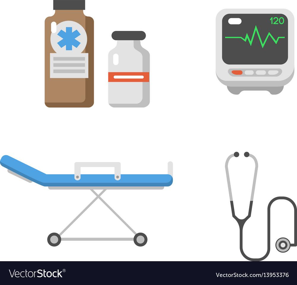 Medical icons set care ambulance hospital