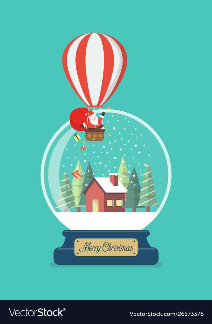 Merry christmas glass ball with santa in balloon