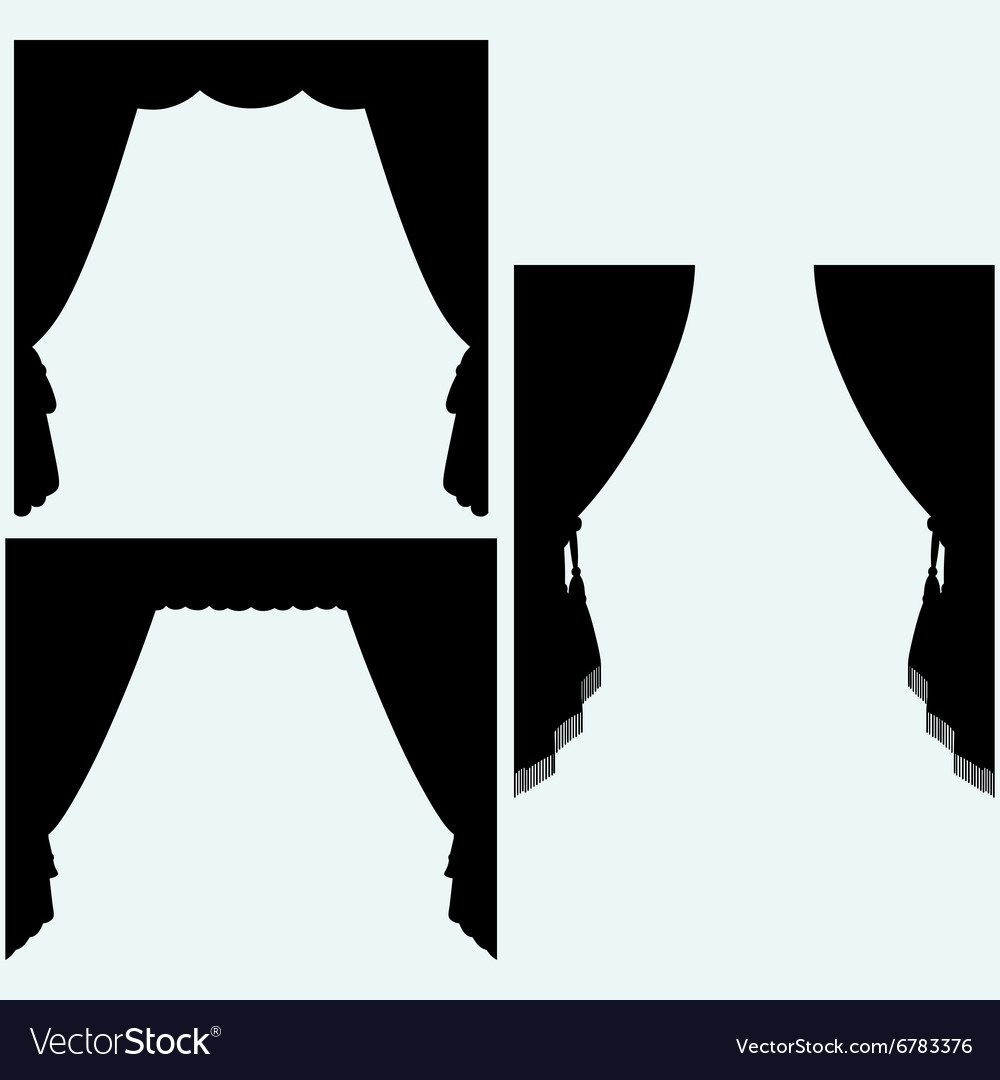 Set of silk curtains open vector image
