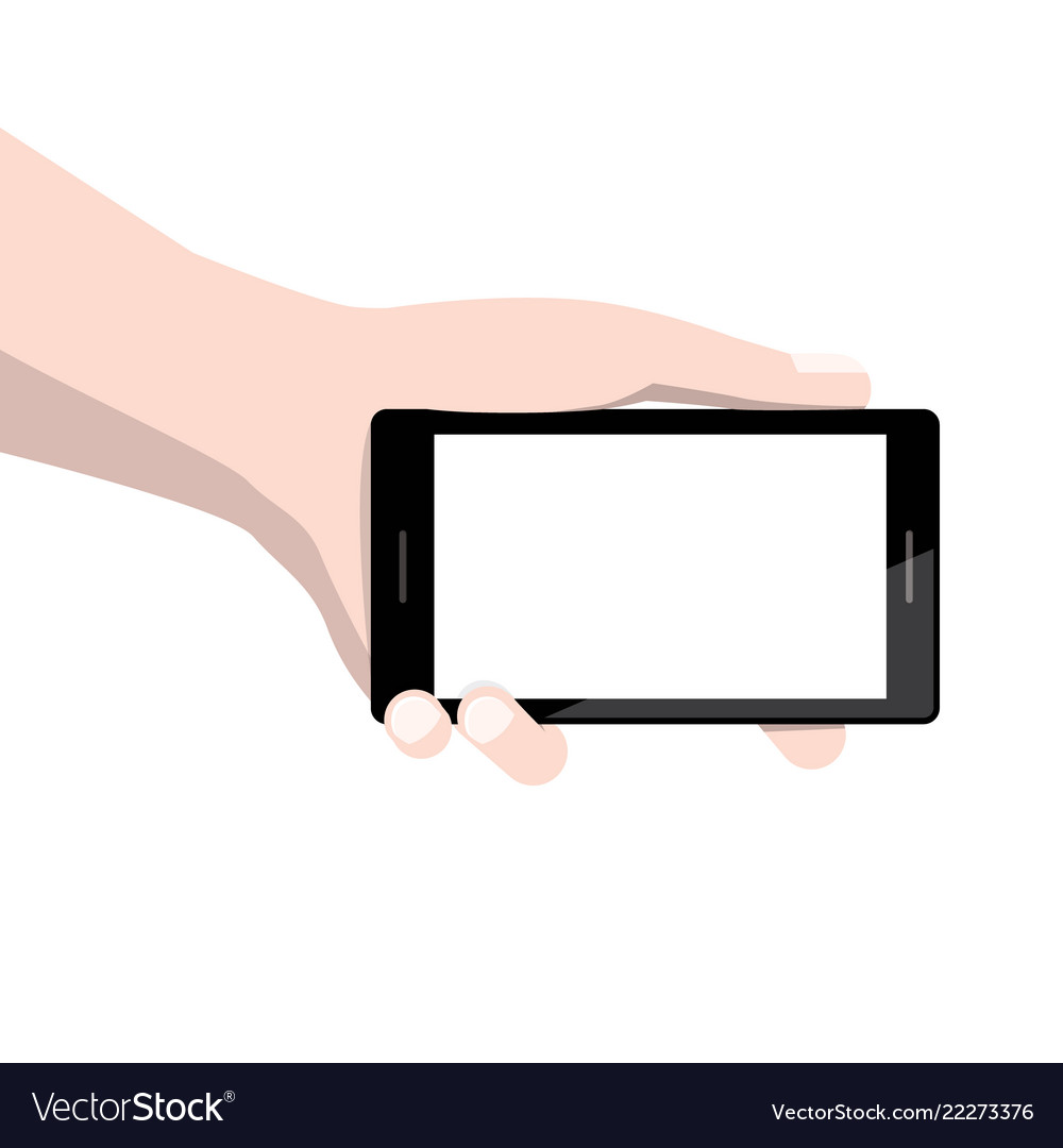 Smart phone with empty display screen in human