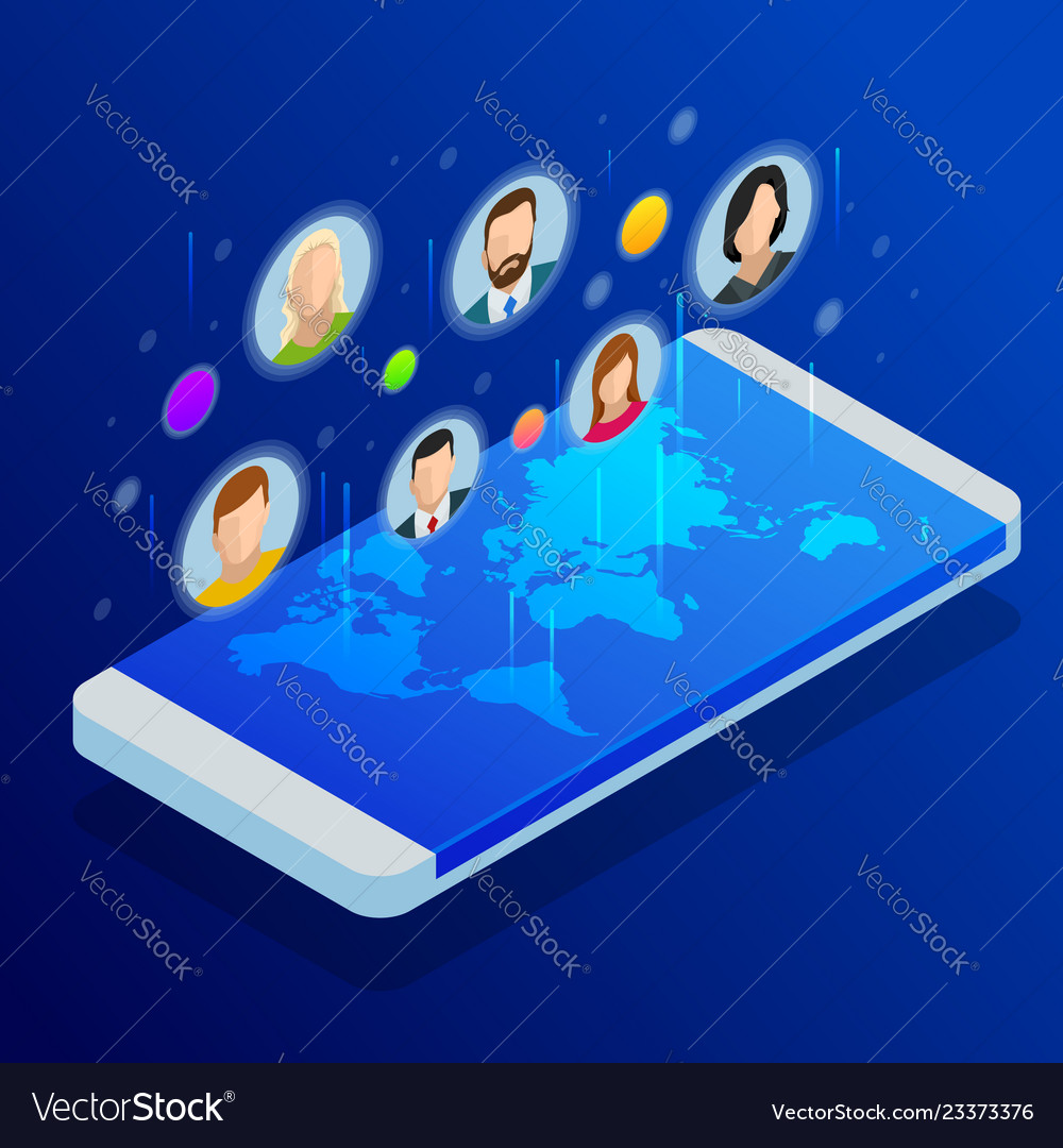 Social media network people connecting all over