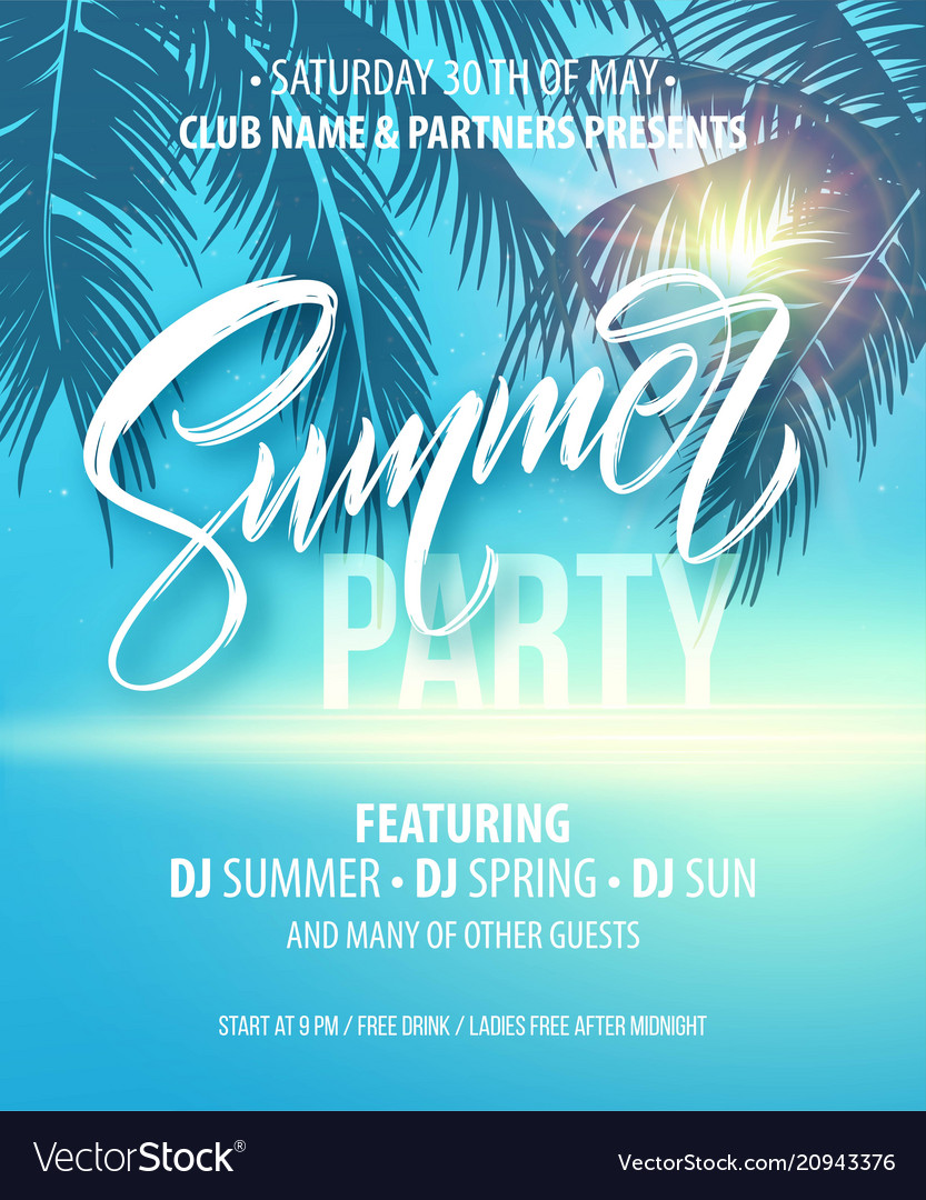 Summer party poster palm leaf and sea background