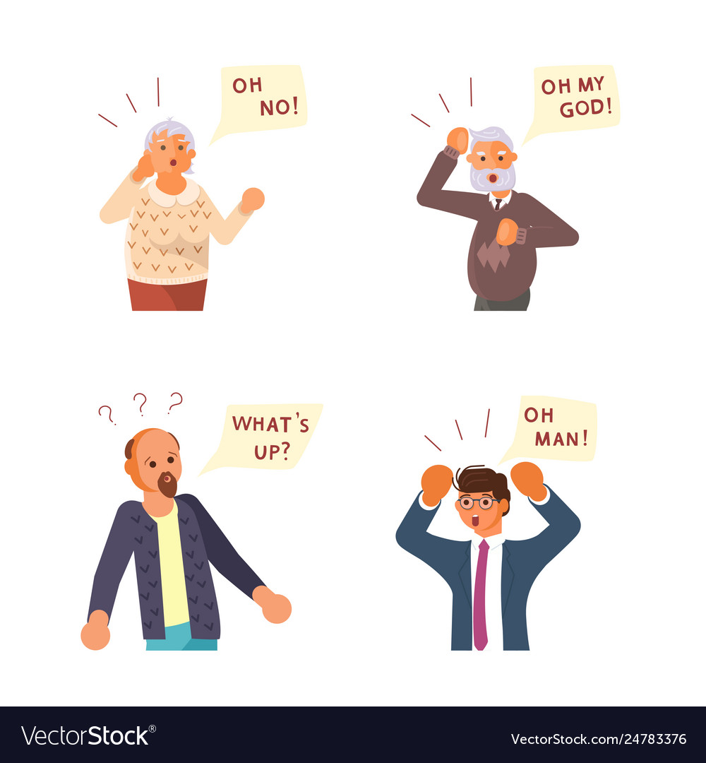 Surprised people with questions speech bubbles