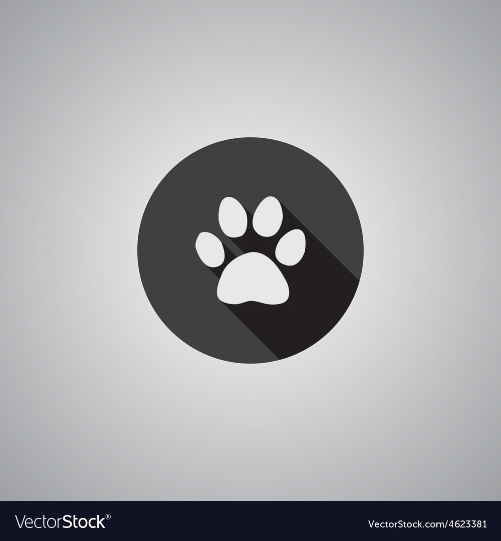 Cat footprint symbol flat