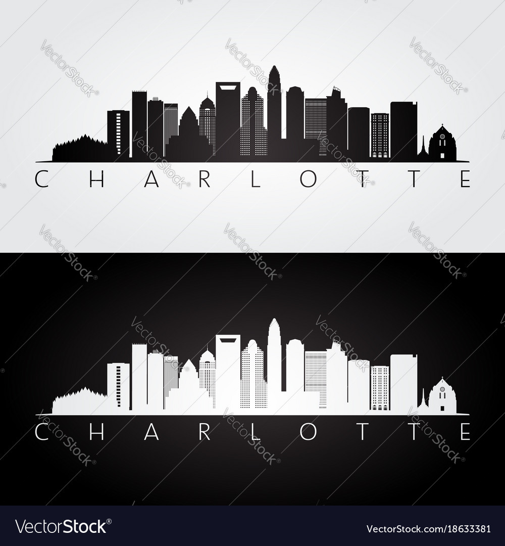 Charlotte usa skyline and landmarks silhouette