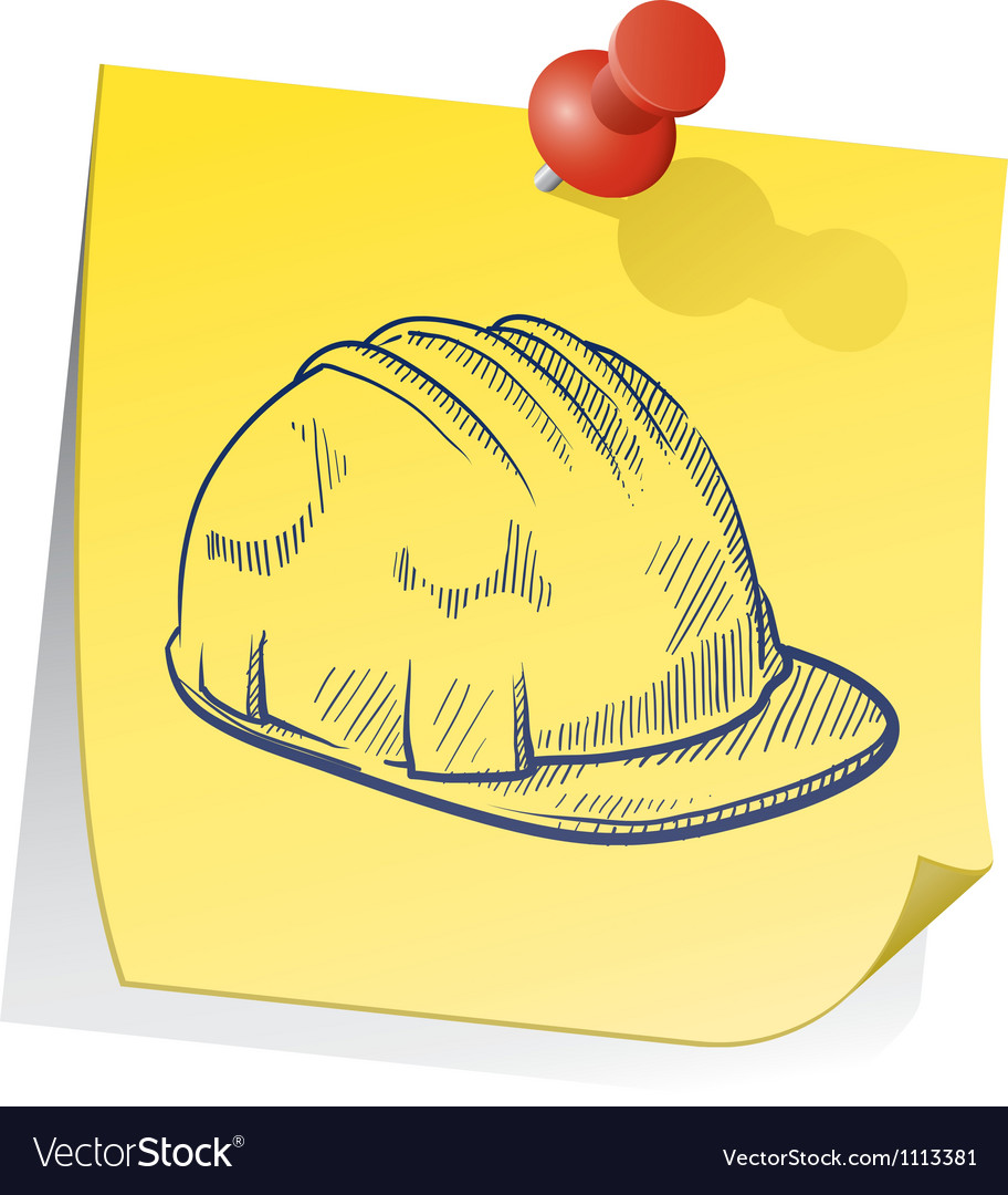 doodle sticky note saftey hat royalty free vector image
