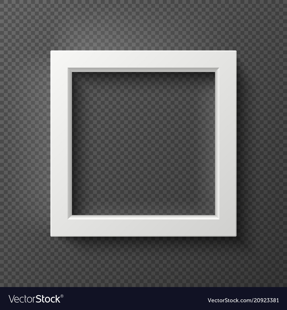 Empty square white 3d wall frame for creative