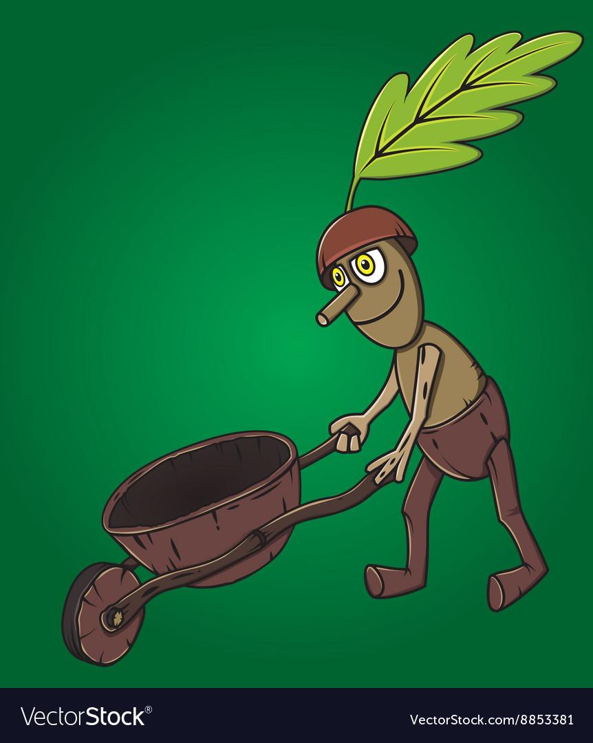 Forest man oak leaf pushing wooden handcart vector image