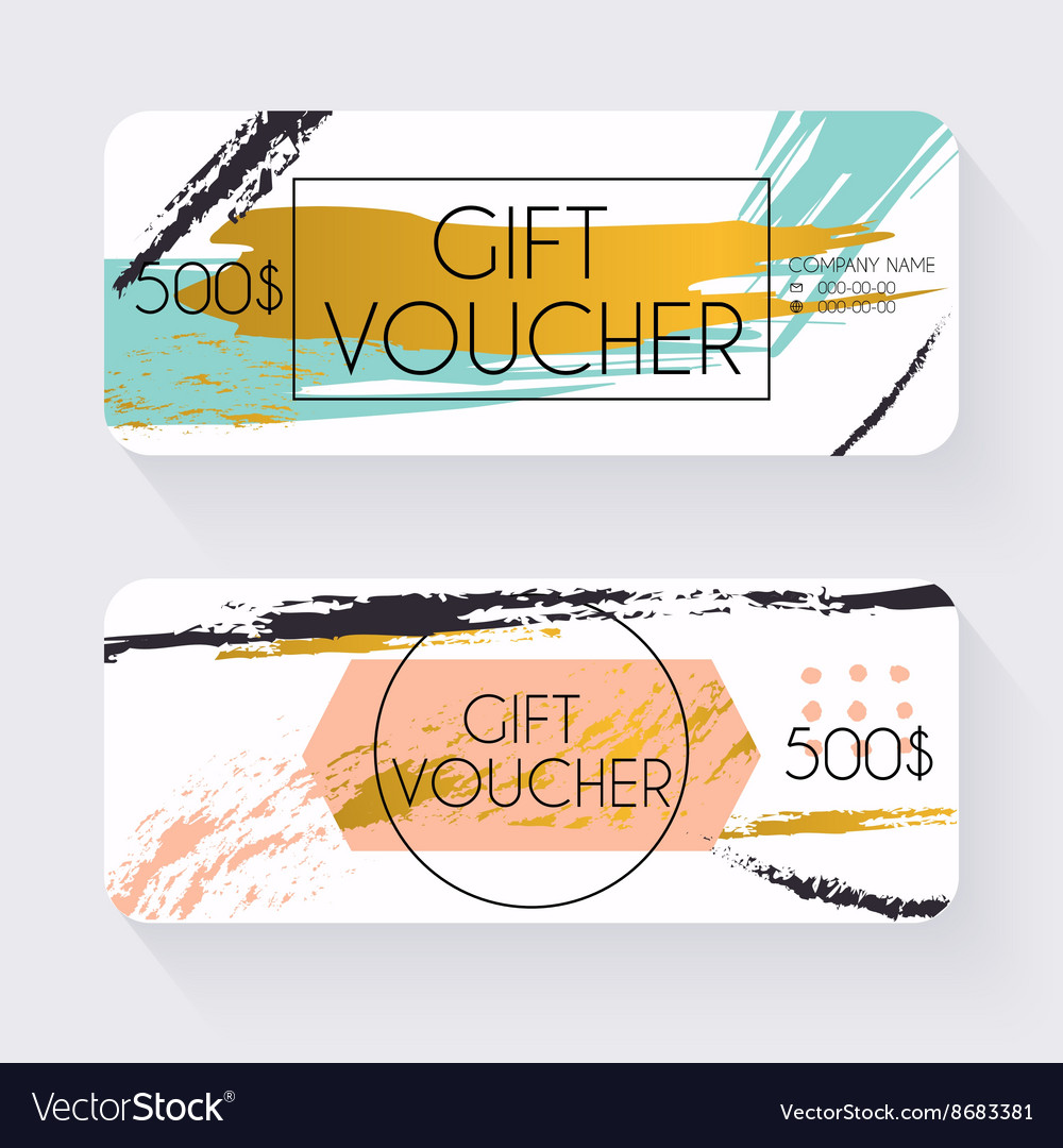 Gift voucher template with gold background Gift