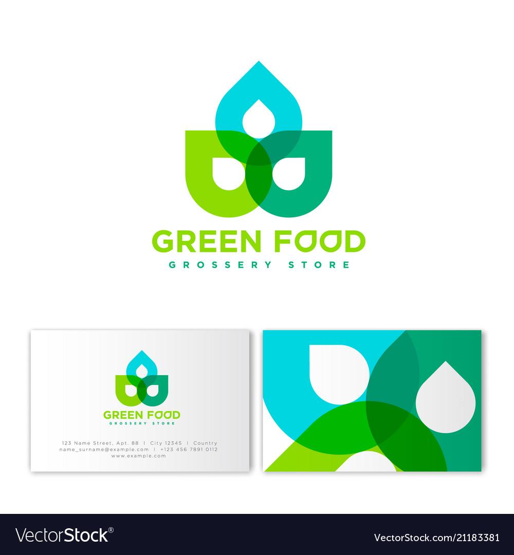 Green food logo grossery identity