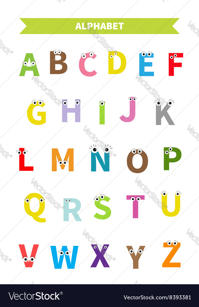 Letters With Face Eyes Alphabet English Abc Vector Image