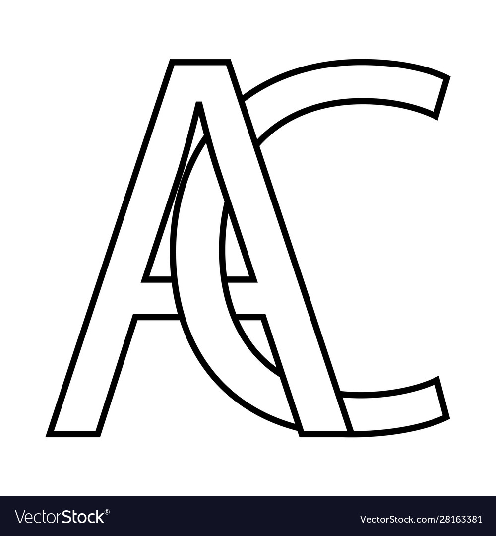 Logo ac icon sign two interlaced letters a c