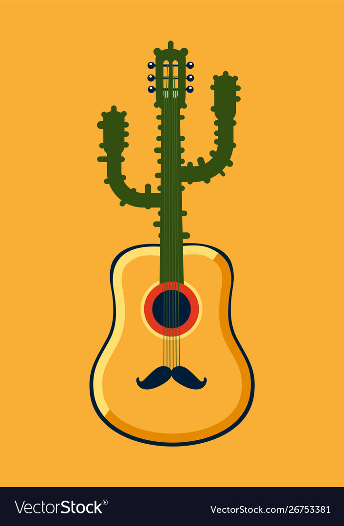 Mexican party poster with guitar and cactus