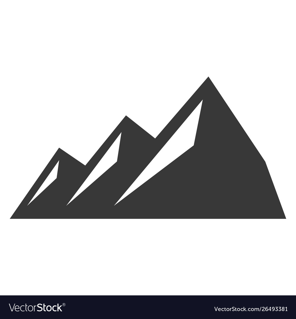 Mountain black icon trekking and extreme sport vector