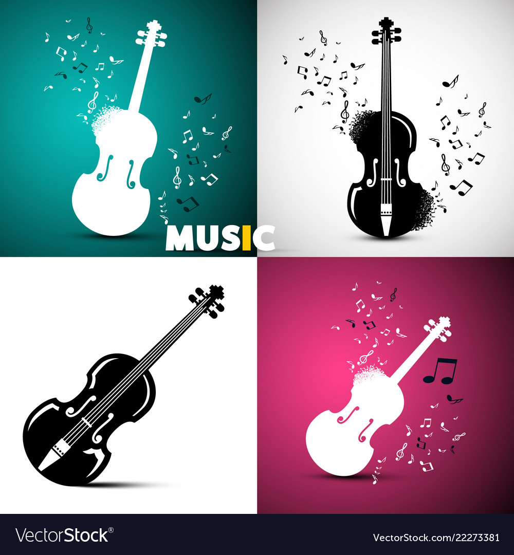 Music design with violins and notes