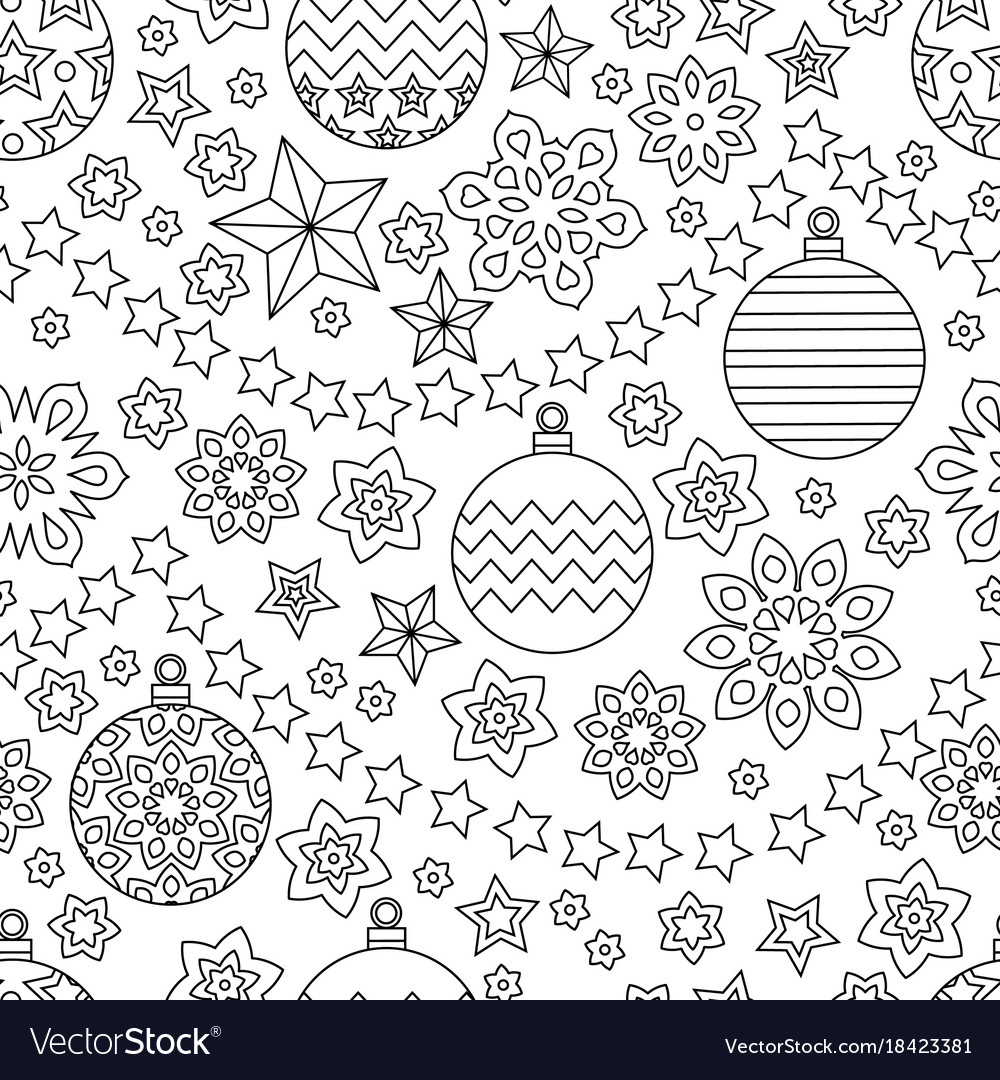 New year hand drawn outline festive seamless