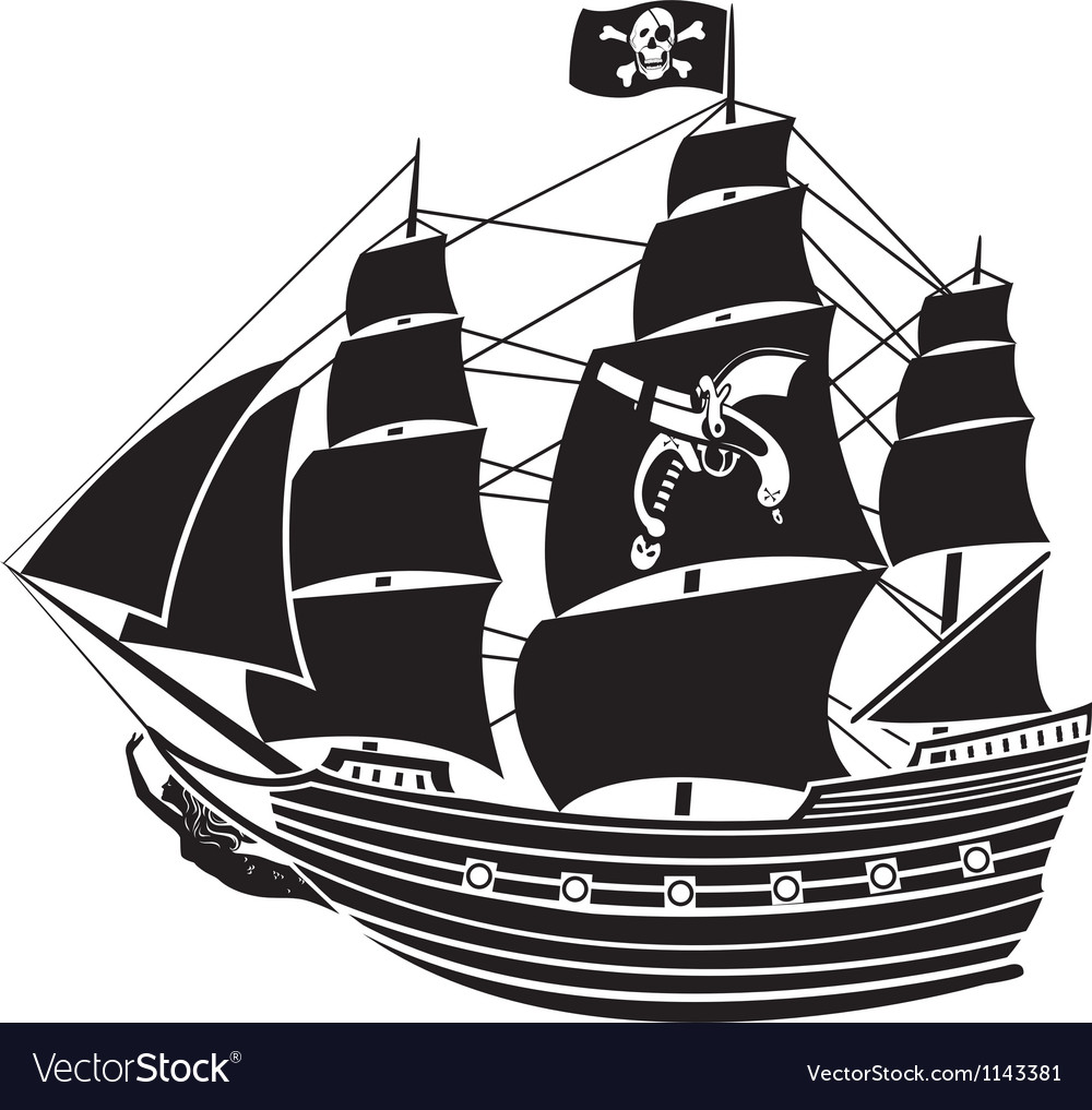 pirate ship royalty free vector image vectorstock rh vectorstock com pirate ship vector drawing pirate ship wheel vector