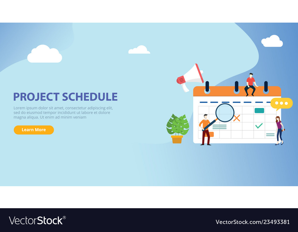 Project schedule calendar timeline with people
