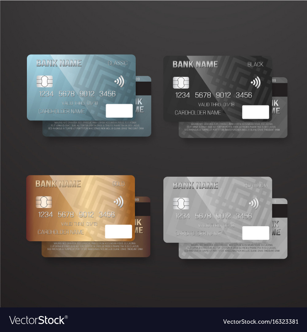 Realistic credit card template set bank card vector image flashek Choice Image