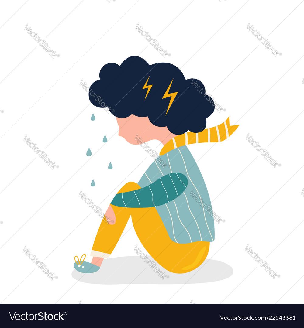 Sad and depressed girl sitting on the floor