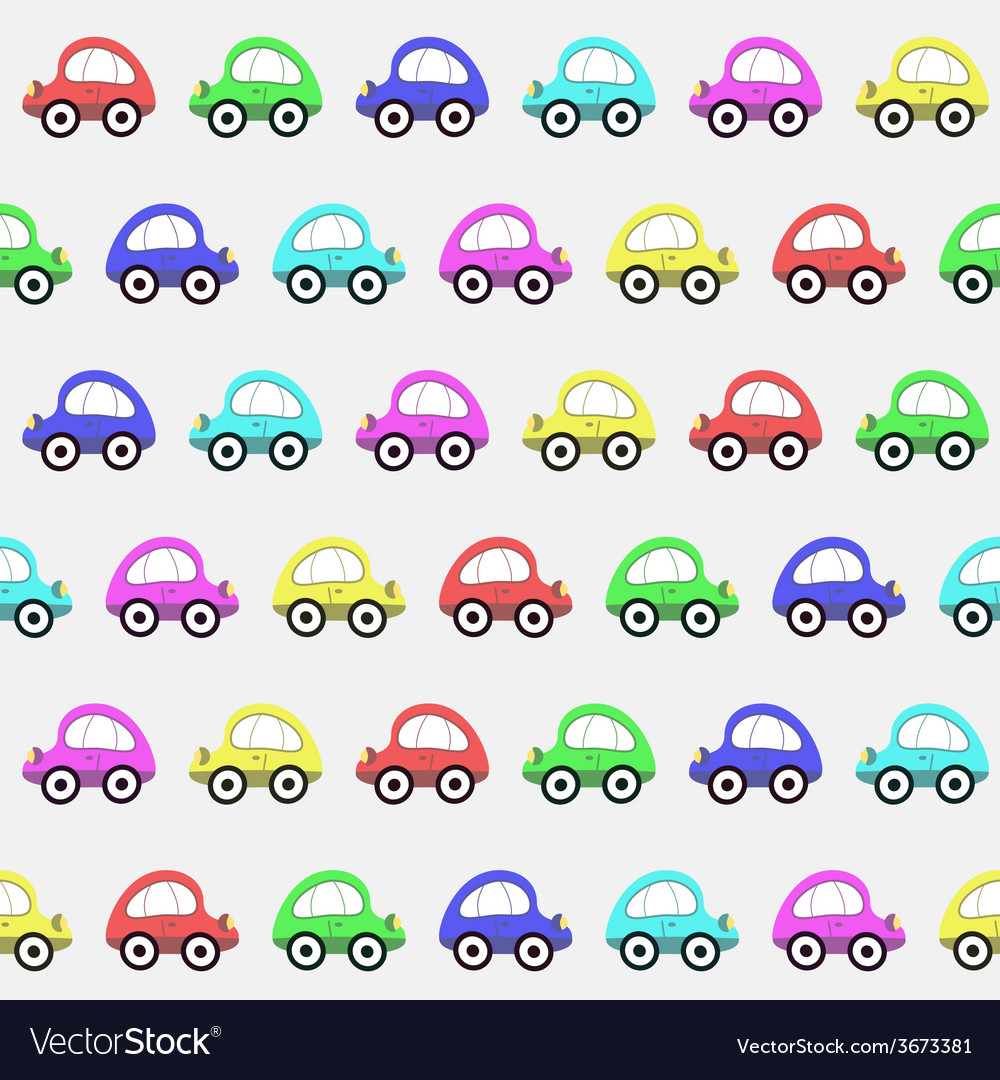 Seamless Pattern with Color Toy Car Background