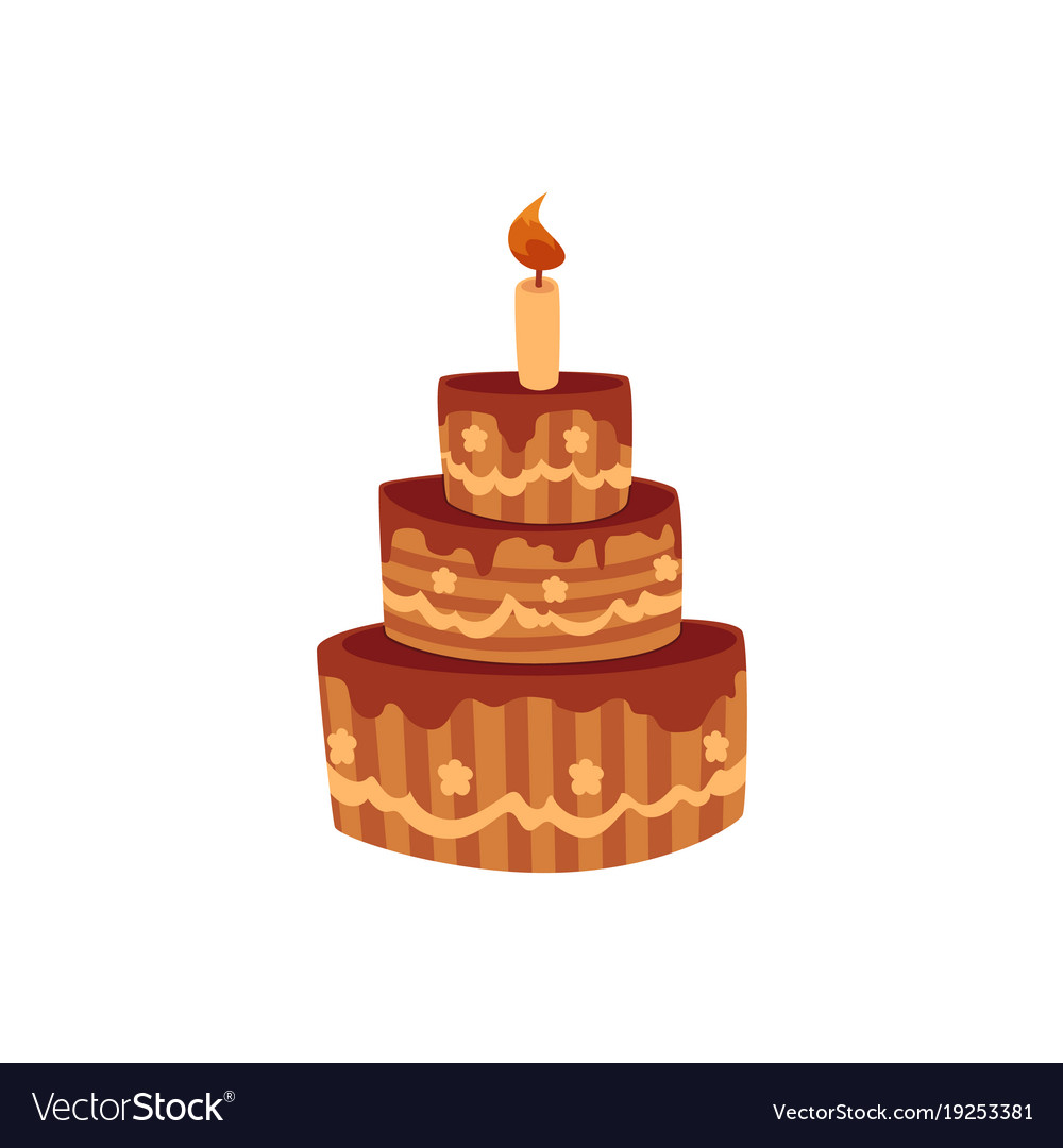 Peachy Tier Birthday Cake With Chocolate Icing And Candle Funny Birthday Cards Online Fluifree Goldxyz