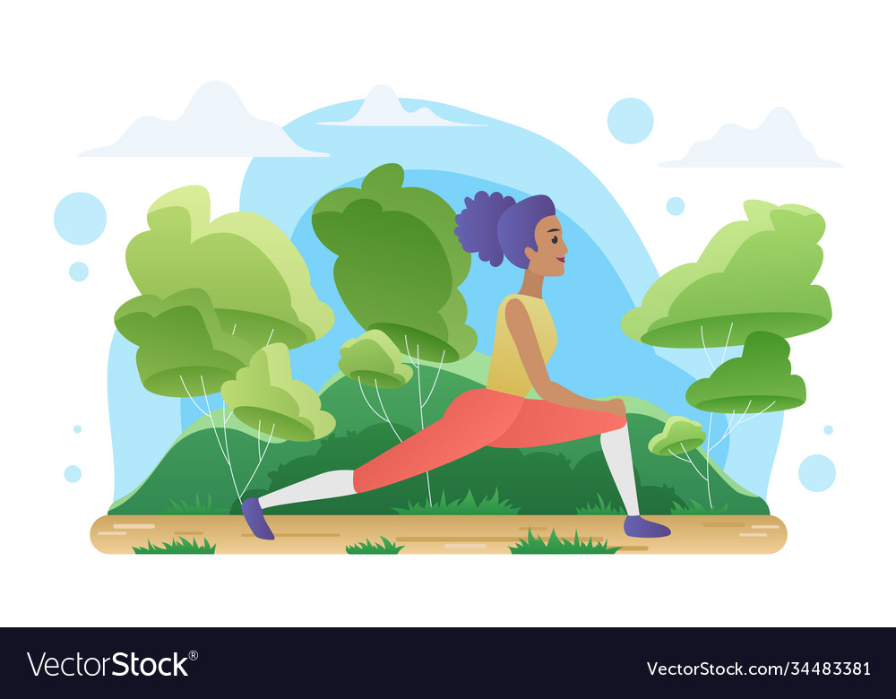 Yoga meditation in nature woman doing sport