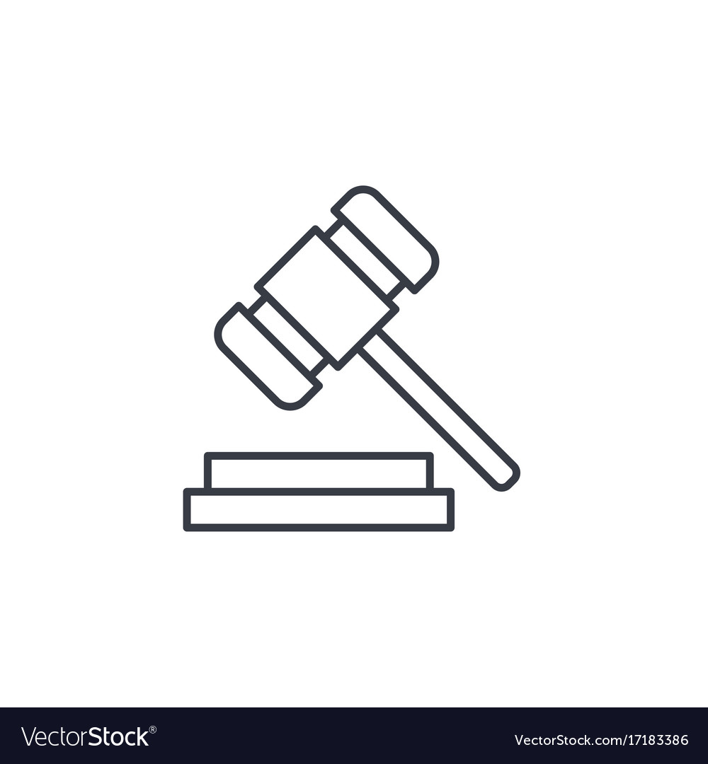 Auction hammer law and justice symbol verdict