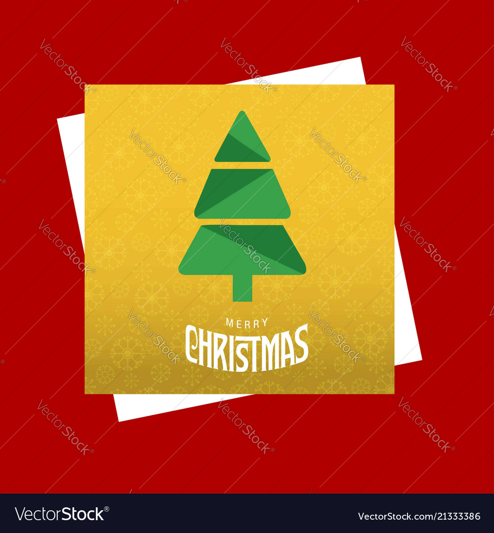 Christmas card with tree and yellow pattern