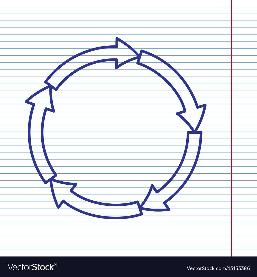 Circular arrows sign navy line icon on